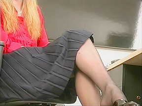 Slim hot golden haired coworker undresses sex tool...