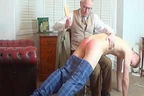 Ass hairbrush spanking for lad with bad grades...