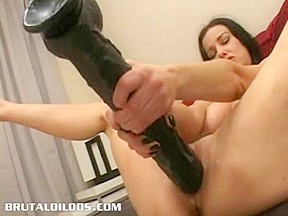 Dark brown cumming all over a giant tool...
