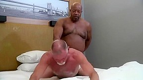 Mature daddy black grandpa bear...