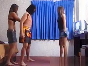 Thai ballbusting very hard kickboxing kicks to the...