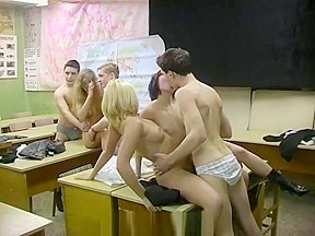 Orgy in russian classroom backstage...