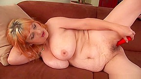 Hairy grandma tits has solo sex...