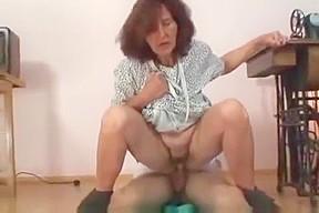 Seamstress sucks cumshot...