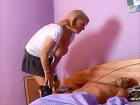 Blonde milf wakes up boy for some fucking...