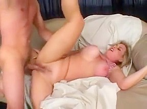 Big Breasted Blonde Cougar Has A Young Stud Plowing Her Hairy Peach