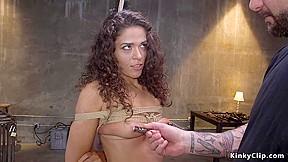 Small tits brunette bondage...