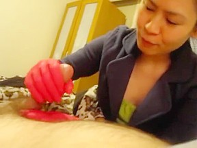 Red rubber glove milking...