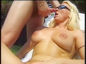 Golden haired floozy receives drilled edge of pool...