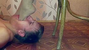 Brutal russian nylon foot gagging...