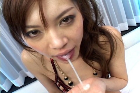 Sexy Japanese slut gets banged by 2 horny men Great tits brunette