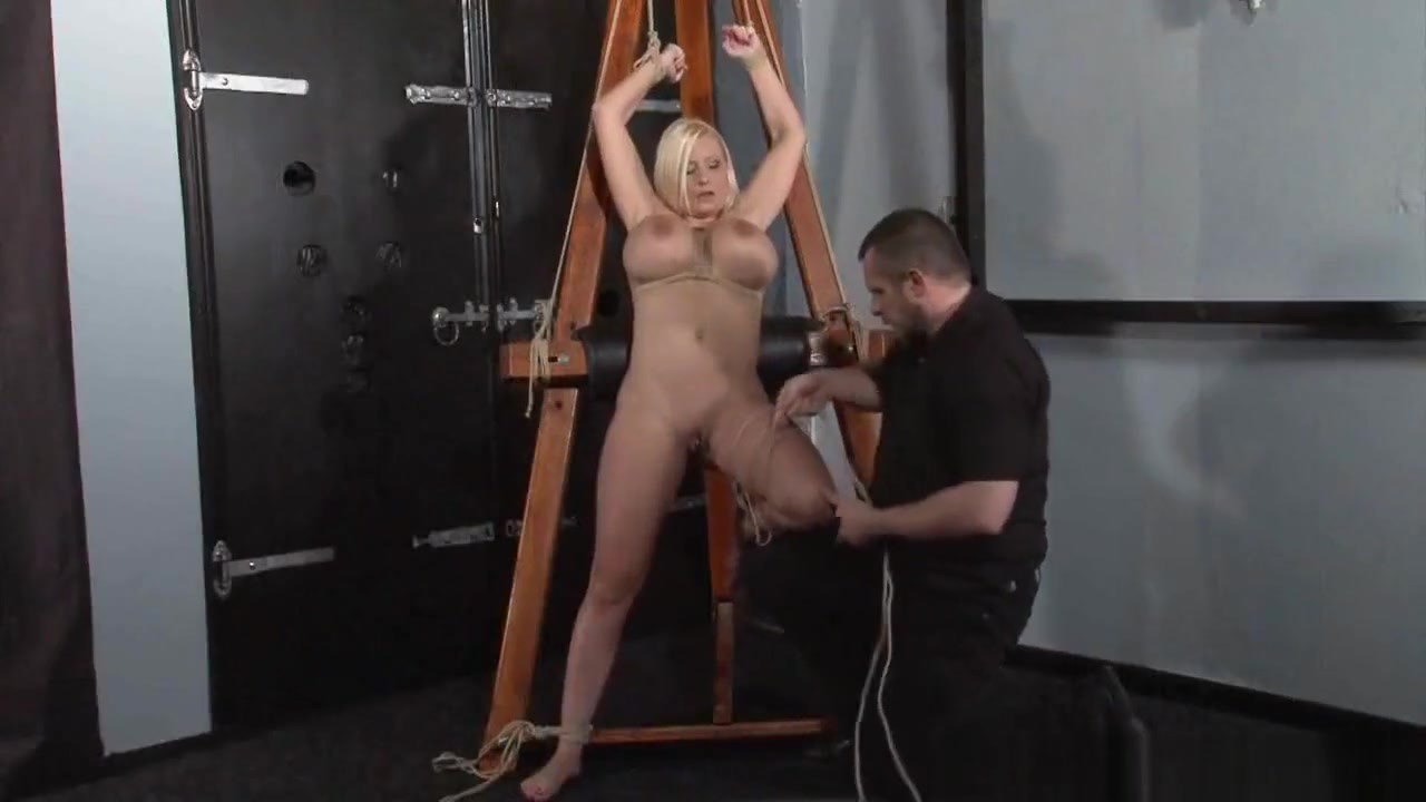 German rope slut Melanie Moons hogtied bondage and restrained busty sub Passionate sex Intense tribbing