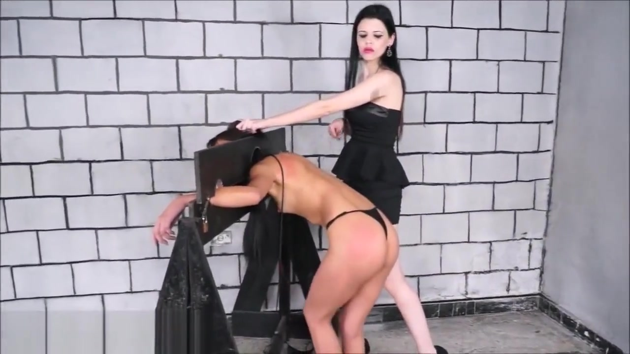 Wooden stocks whipping of lesbian brazilian bdsm babe in hardcore spanking you tube porn gratis.com