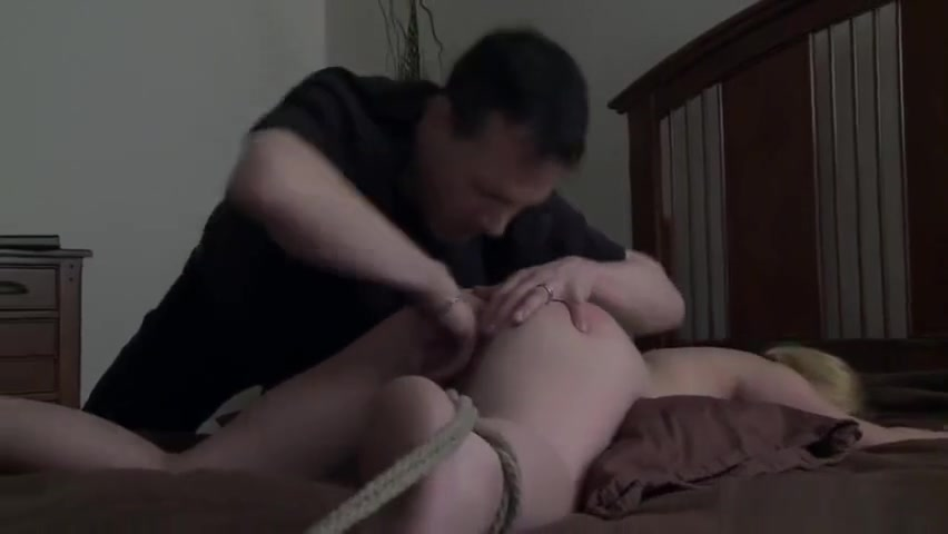 Blindfolded blonde slave with butt plug gets spanked on the bed anal bead cleoptra gem