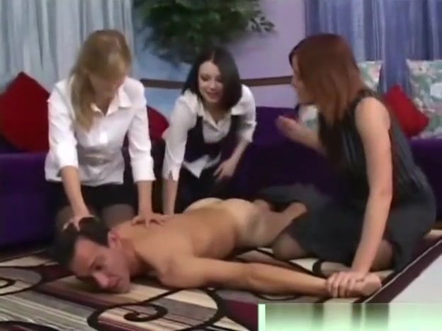 Cfnm babes dominate guy by stripping him