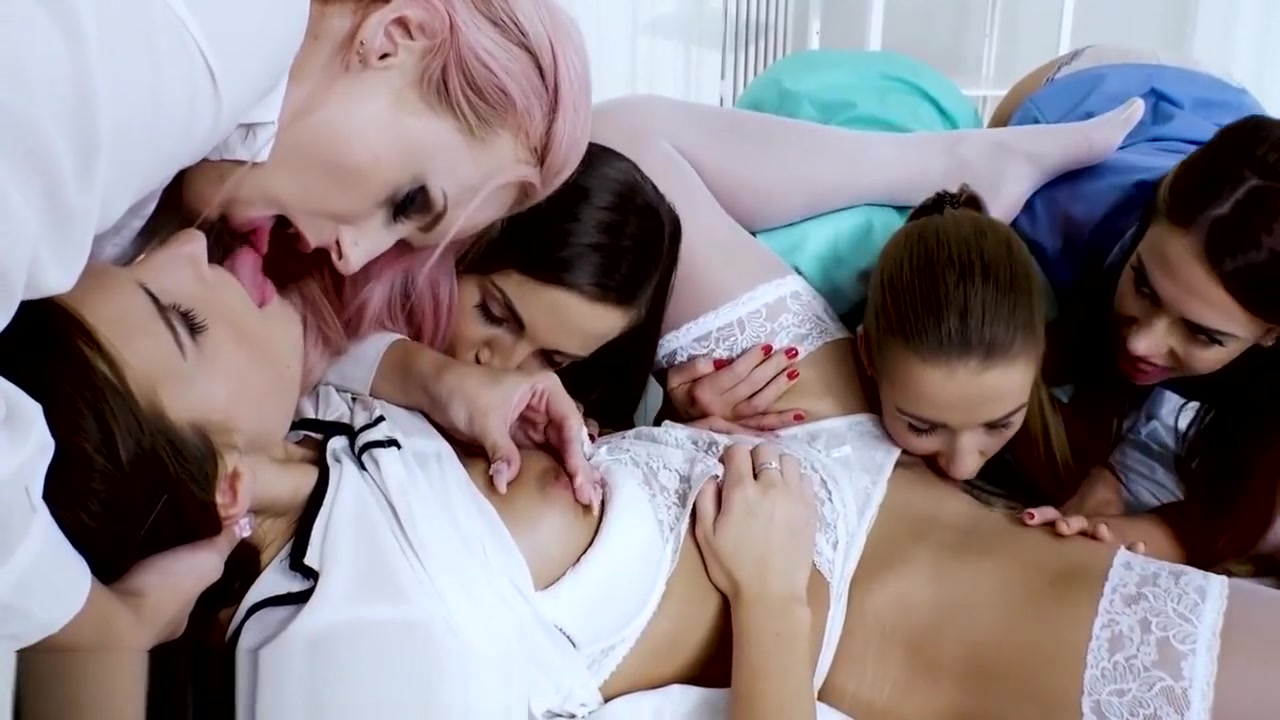 Lesbian Paitent Strapon Gangbang by Horny Nurses! Teen pussy huge dildo