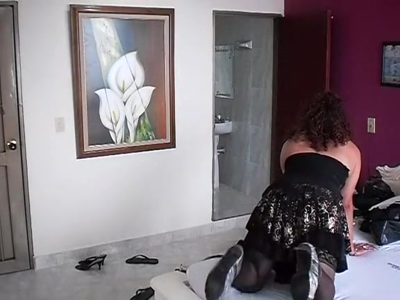 Latin Crossdresser with Bonbon romance hug and kiss