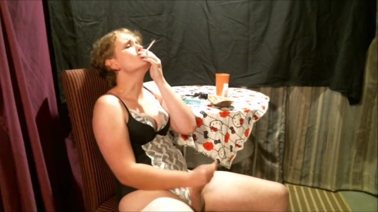 Beautiful MTF Submissive Sissy Denied From Smoking Then Orgasms