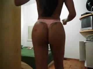 Busty brunette dancing on webcam