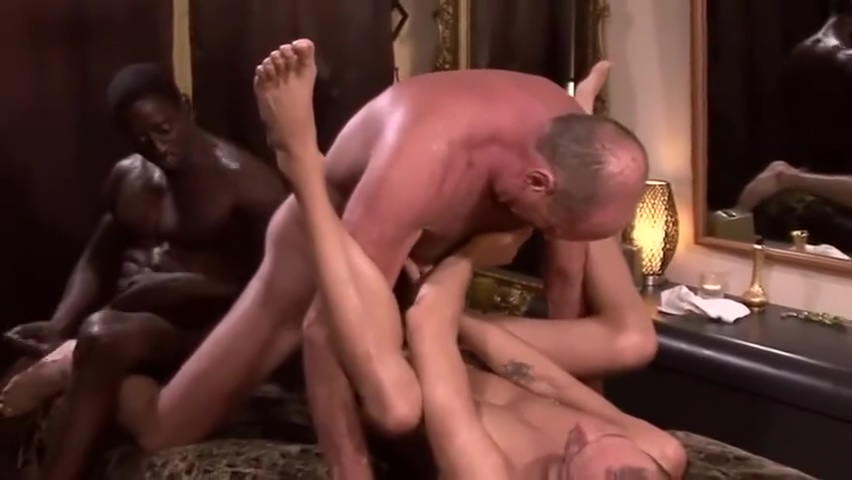 Hairy old man has hot sweaty 3some with a young twink and muscled black guy Cheater X Viedo