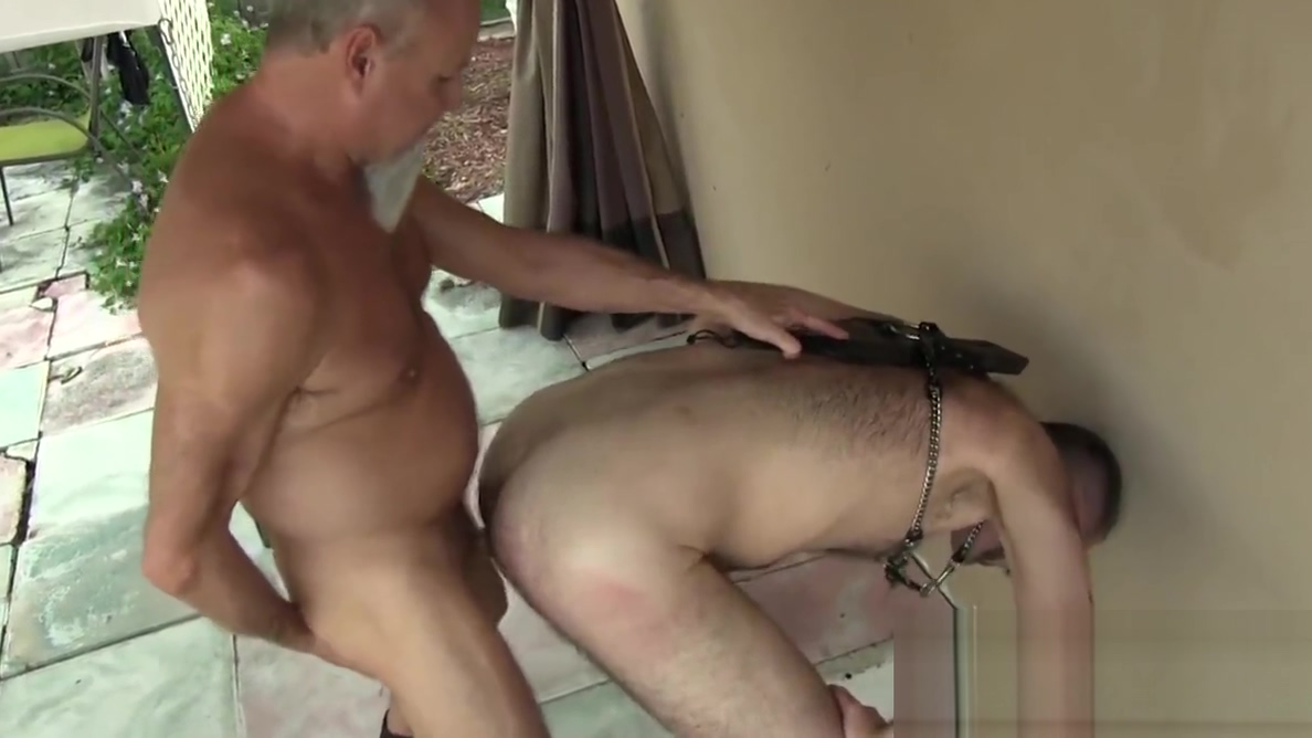 Gay grandpa spanks hairy ass before backyard bareback sex using a plastic bag caught on spy cam