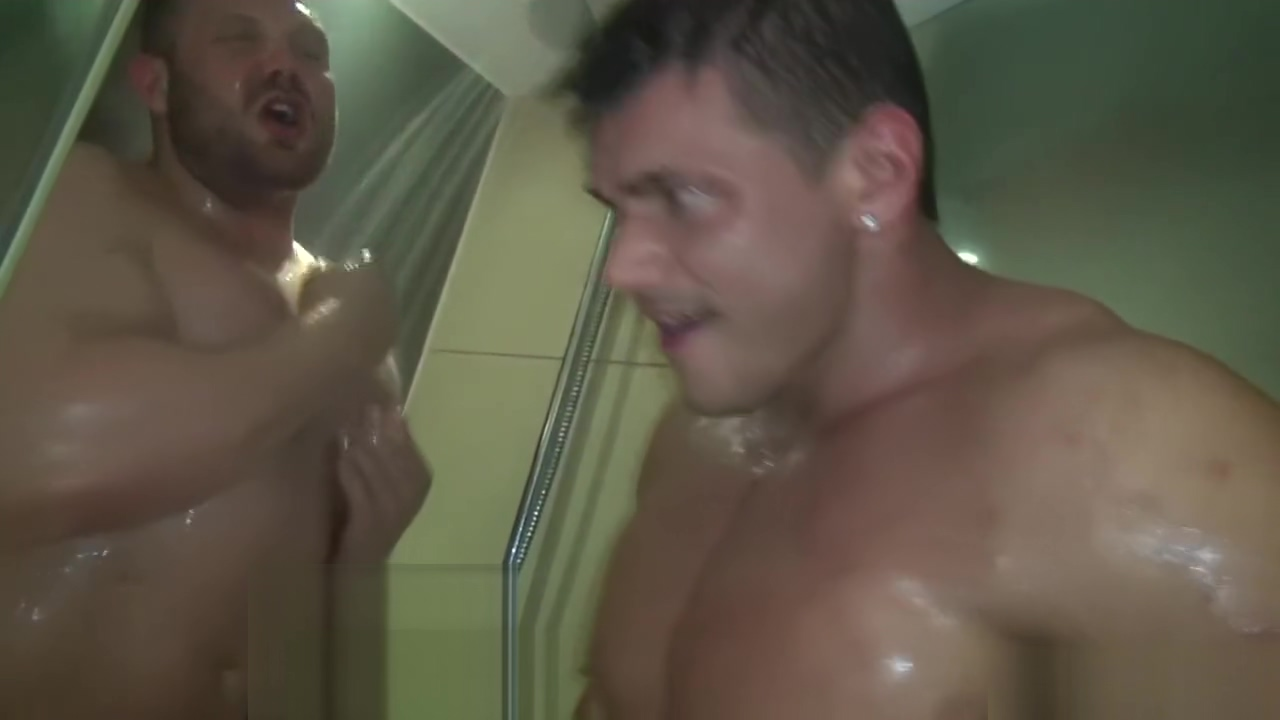 Muscle Worship in the shower handsome straight guy enjoys his first ever gay blowjob