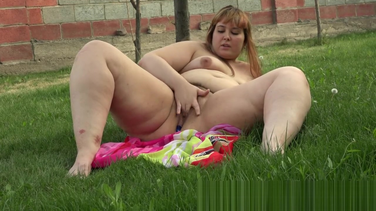 With a cork in the ass masturbates and smokes, a bbw in the garden Female domination artwork