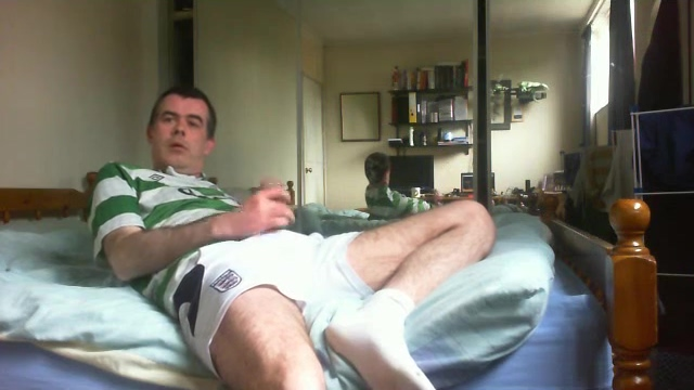 Wanking in footie top and spunking over my shorts Good morning fuck