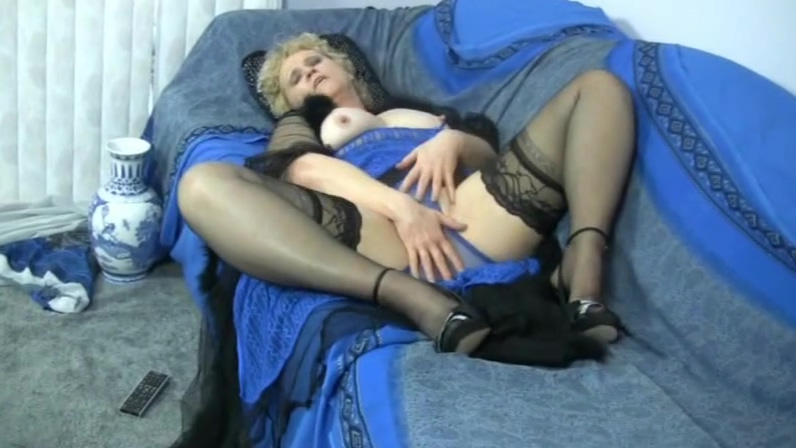 Granny in stockings exercises for a huge cock