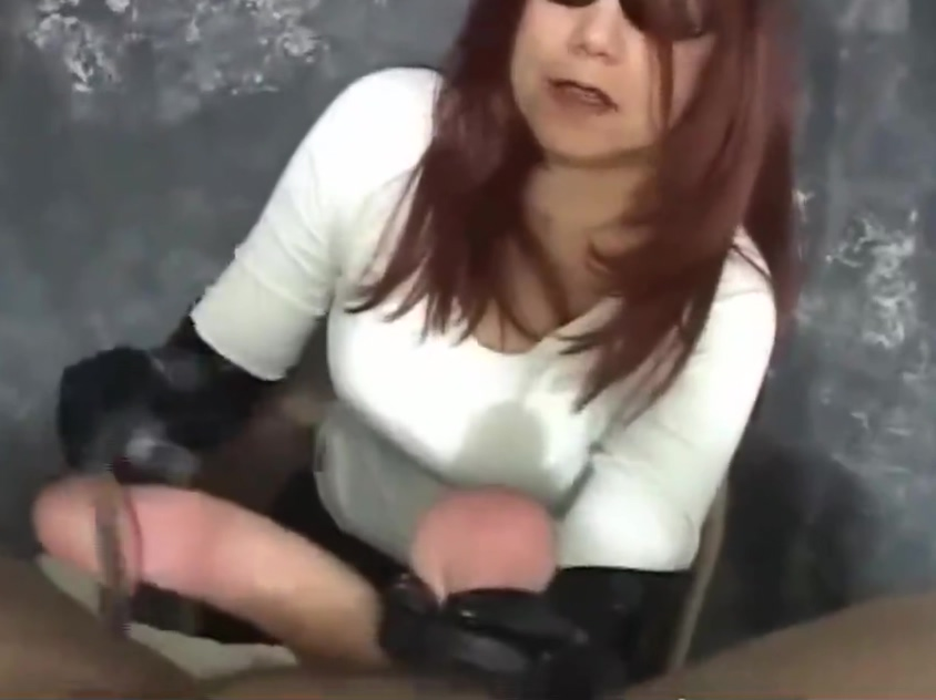 Cock and balls twisted hard handjob rough cock milking