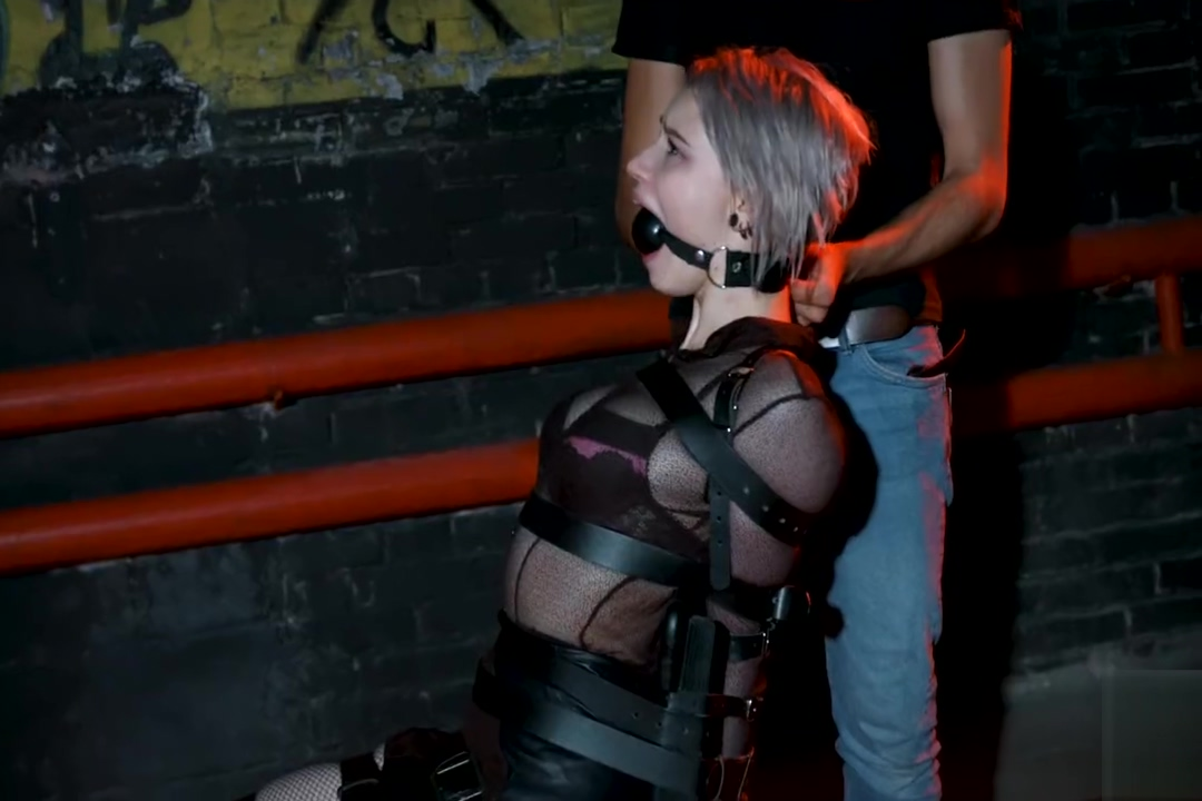 strapped russian gets huge ballgag and ring gag