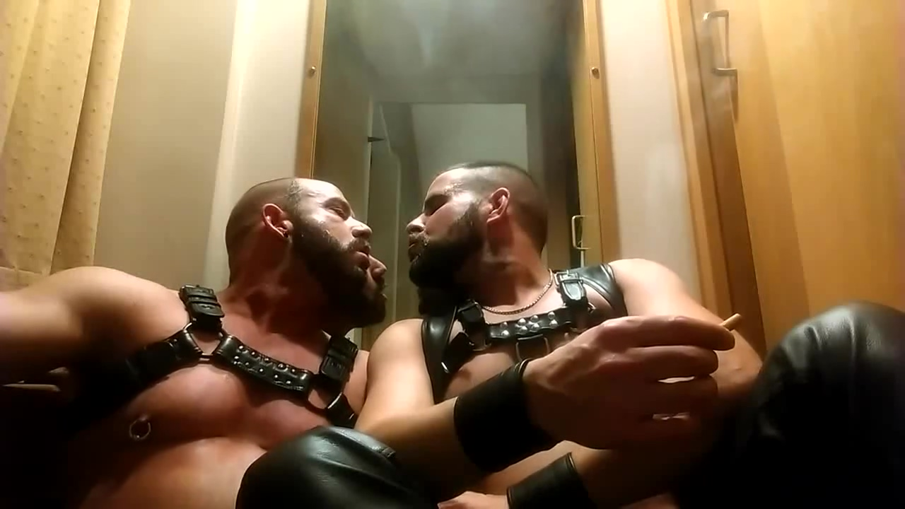 Leather muscled hunks smoking together Tiny tabby black man porn