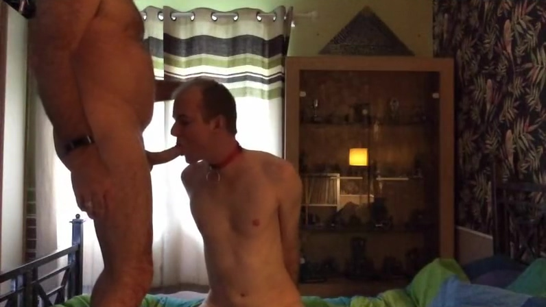 Bound Chaste Sub Slut Barebacked, Ass-to-mouth Fucked &Piss-fed by Mask Top muscle gay sex man