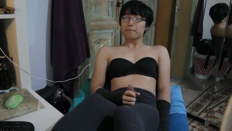 Cute Asian Twink CD Jerking hot ass wet asshole