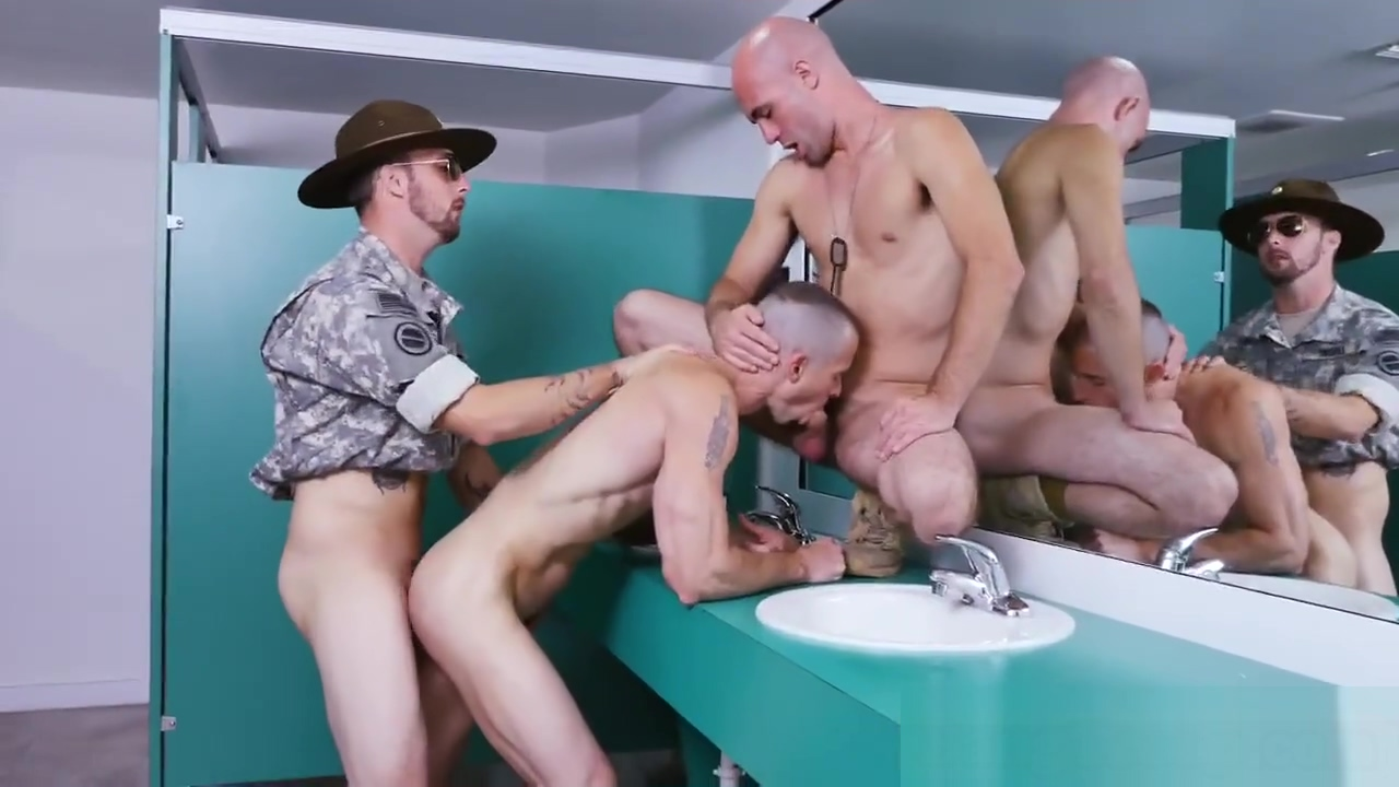 Military guys fuck each other on service in the bathroom black girls wearing stockings