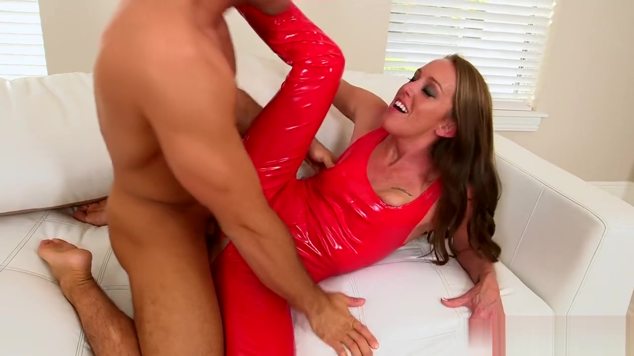 Milf fucked in red PVC women and man sex nude