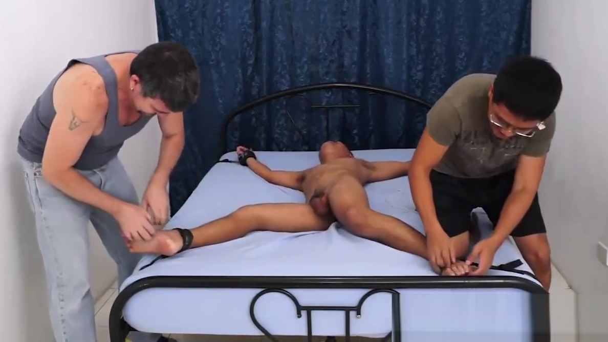 Asian Boy Lance Bound and Tickled Nice Brunette