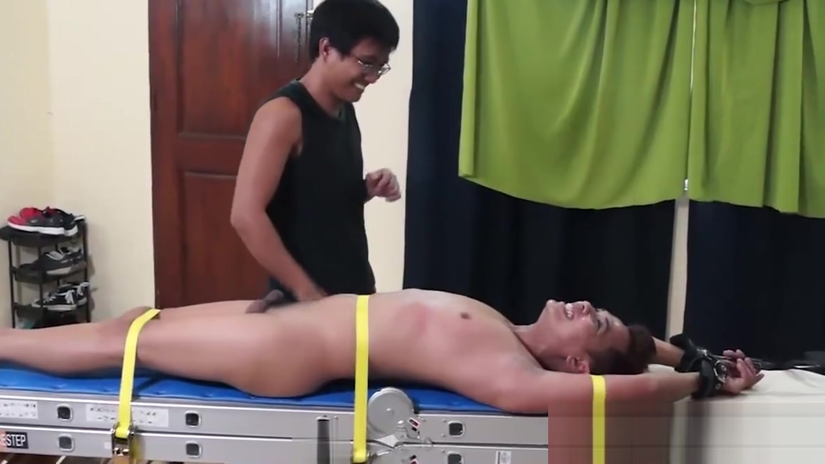 Asian Boy Gilbert Bound and Tickled transexual with giant dick