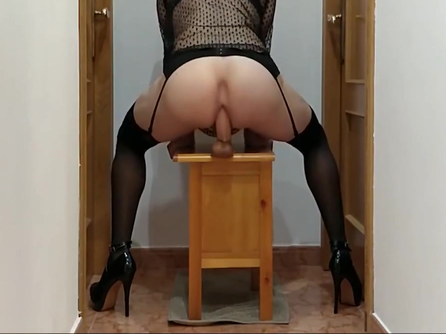 Crossdresser riding big fat dildo Sex hand held shower