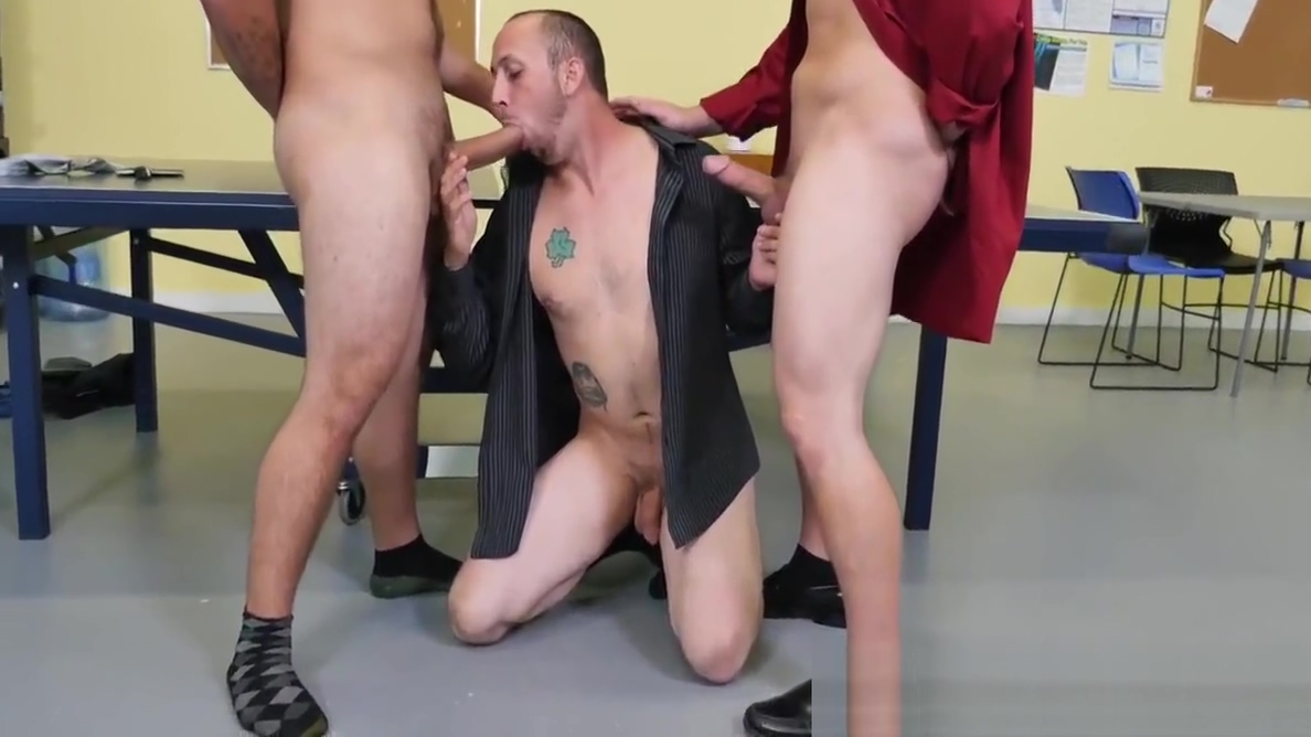 Coworkers are having a wild gay threesome at the office Milf british sex