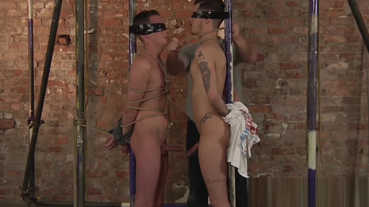 Twink Cameron James cums after stroking in BDSM threesome Sandra spanish milf