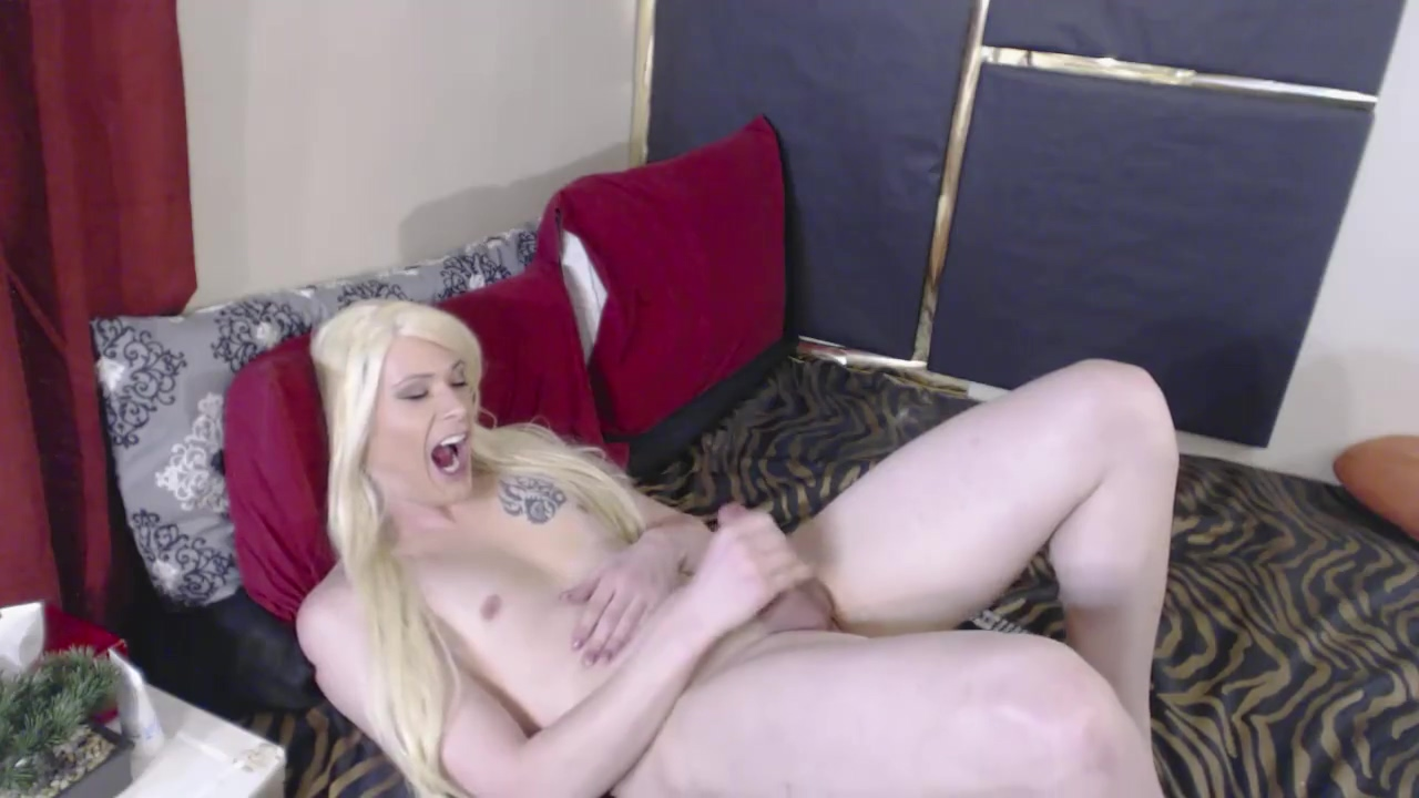 Perfect Ass Blonde Tgirl; Twerks, Jerks and Fucks Toy ending in Self-facial