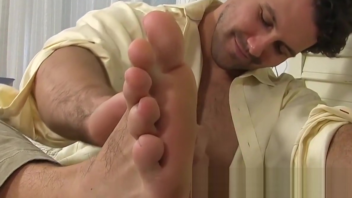 Hunky gentleman Jet massages his own sexy feet Glam lesbian babes enthusiastic oral love