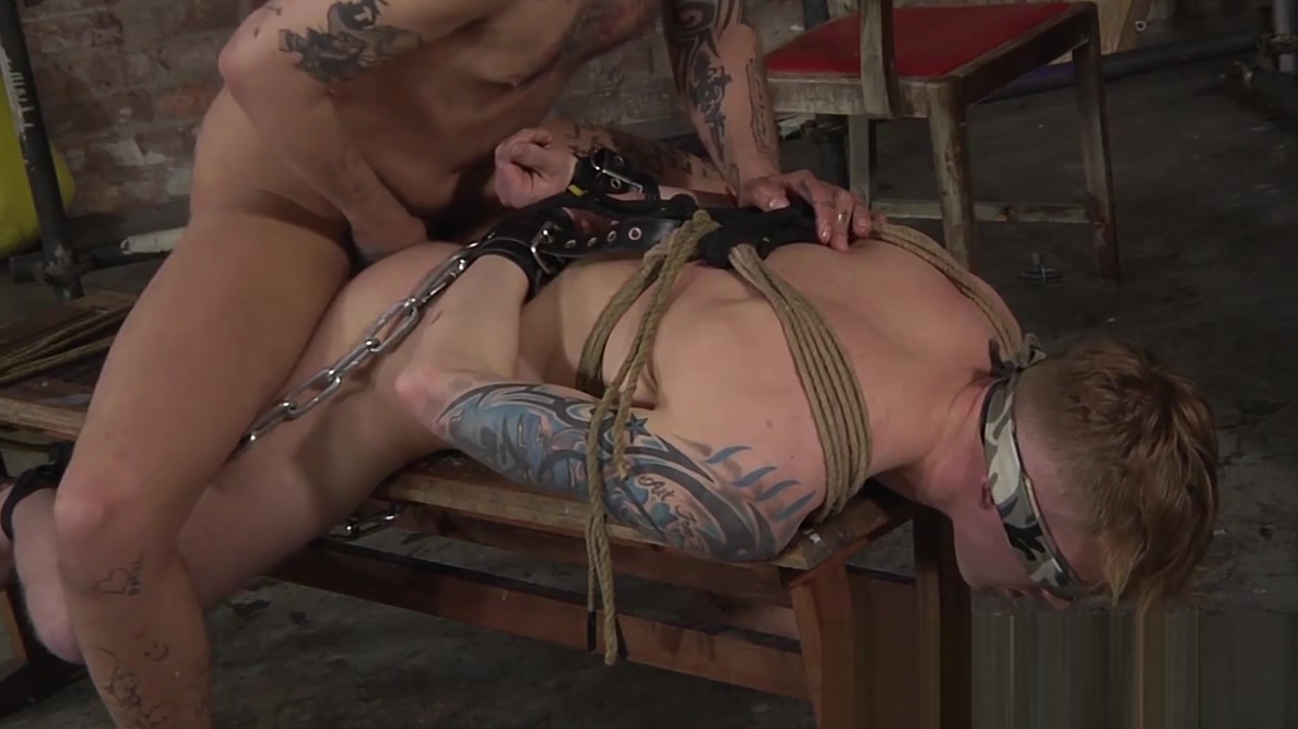 Blindfolded slave got his ass eaten out and smashed rough gay group cum eating
