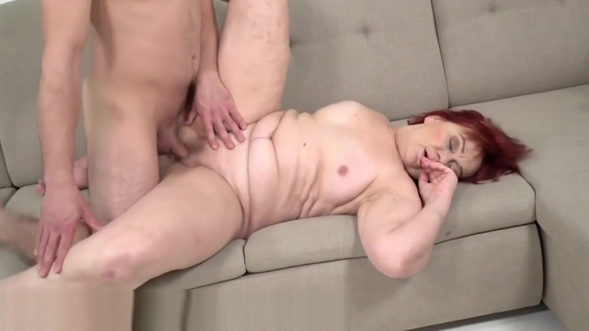 LustyGrandmas BBW Redhead GILF Rims Ass of Young Stud