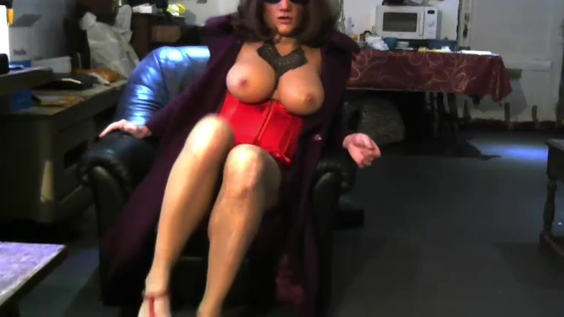 Red corset and coat on the sofa best cartoon sex movies in english