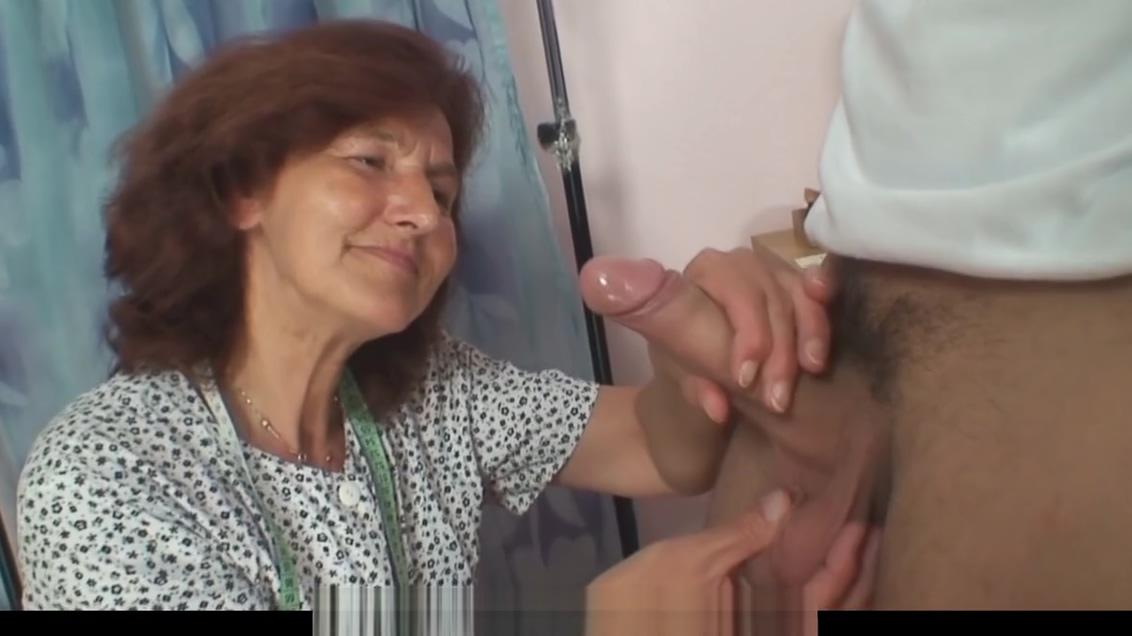 Sewing granny swallows customers cock