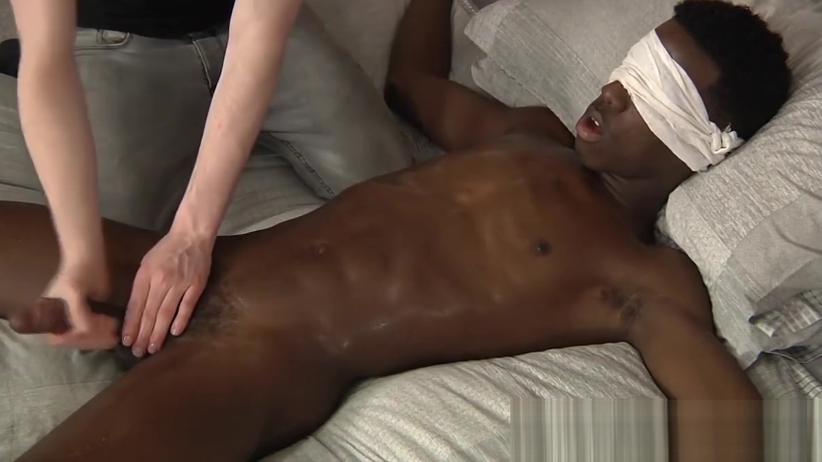Blindfolded BBC twink gets a hard handjob step by step sex instructions