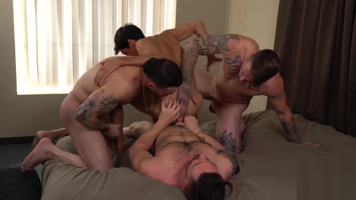 Buff tattooed studs swap dicks and holes in bareback orgy New bbw anal