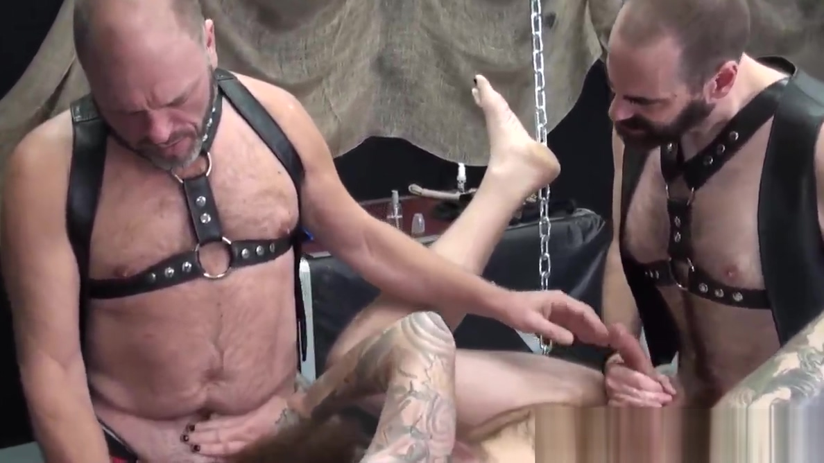 Mature inked biker bear barebacked in trio Adult nudeblack cocks pic